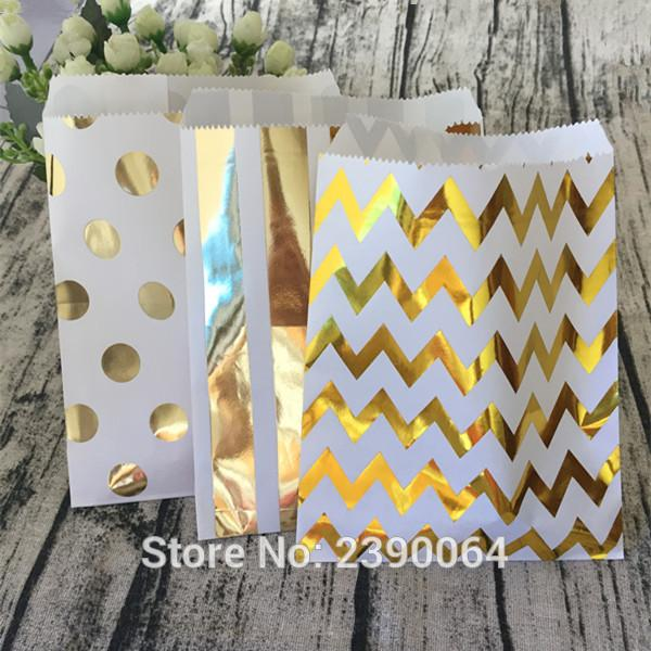 School Party Candy Bags 100pcs Foil Gold Chevron Polka Dot Stripe Paper Bags Cake Sweet Bags for Baby Shower Birthday Party