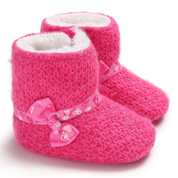 Winter Baby Cute Bow Boots Soft Plush Ball Booties for Infant girls Anti Slip Snow Boot keep Warm Cute Crib shoes 0-18M