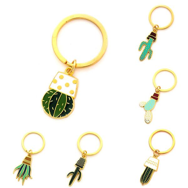 Mini Nette Kaktus Design Keychain Frische Kakteen Form Topfpflanze Schlüssel Schnalle Einzigartige Spaß Schlüssel Ring Für Auto Tasche Dekoration