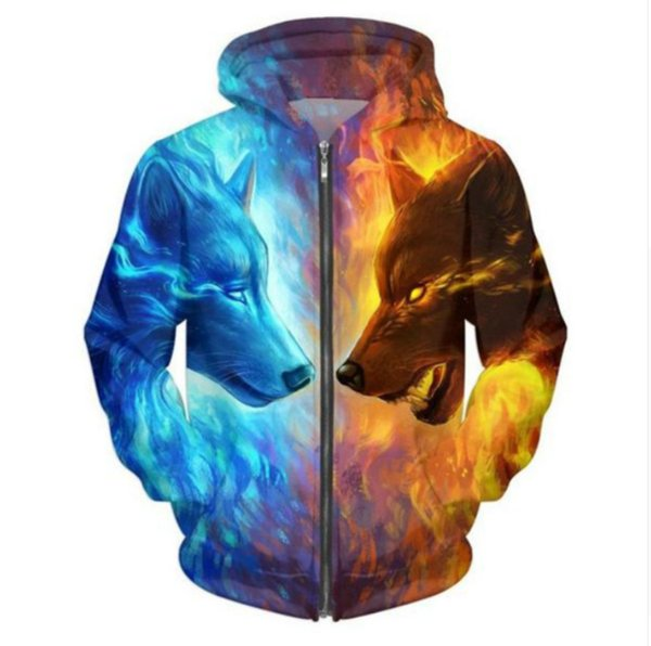 New Fashion Zipper Hoodie Ice and Fire Wolf 3D Print Zip-Up Hoodies Psychedelic Sweatshirt Men/Women Harajuku Outfits Tops YY05