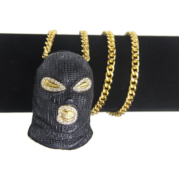 18 k altın CSGO Maske Başkanı Kolye Kolye Buzlu Out Rhinestone Çinko Alaşım Altın Gümüş erkek Hip Hop Kolye Punk Takı # HOP