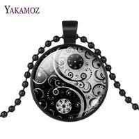 Sweater Chain Bagua Tai Chi Glass Cabochon Pendant Necklace Black Silver Color Long Chain Vintage Jewelry Maxi Necklace Choker