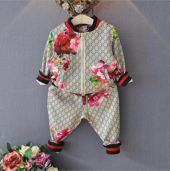 2019 yeni lüks kız marka spor takım elbise kız stereo çiçek uzun kollu fermuar gömlek + pantolon takım elbise rahat ceket + pantolon spor takım elbise