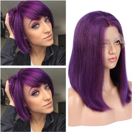 Virgin Brazilian Purple Human Hair Lace Wigs Colored Purple Glueless Full Lace Wigs Straight Bob Cut Lace Front Wigs 130 Density