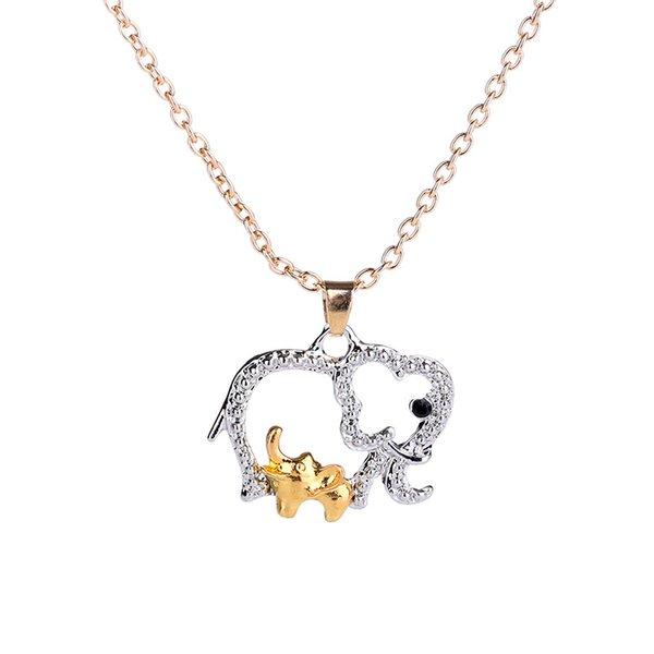Elefant Halskette mit Baby Tier Anhänger Halsketten Schmuck für Mutter Hot Gold Silber Überzogene Muttertag Weihnachtsgeschenke Kristall Halskette