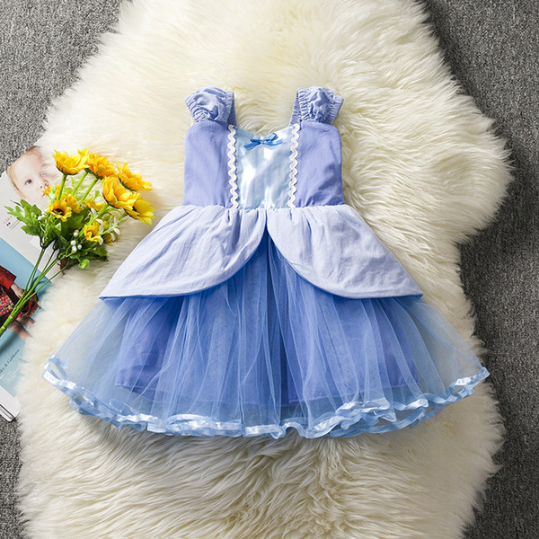 2018 New Girls Dresses Baby Girl Summer Sleeveless Cinderella Princesses Kids Fashion Lace Gauze Bow Dress Children Clothing Free Shipping