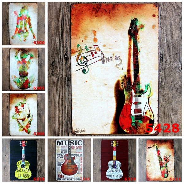 Violoncello Horn Metal Signs Love Guitar And Music Retro Poster Vintage Art Painting For Home Bar Cafe Pub Wall Decor YN051 Y18102409