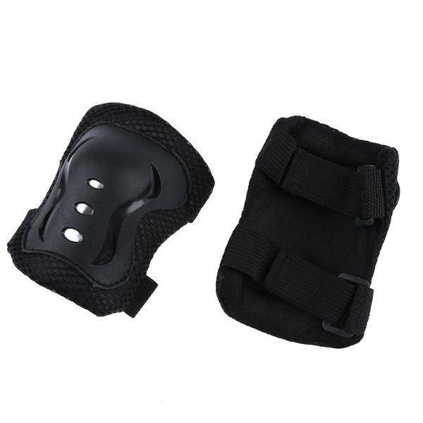 Wholesale! Kids Hook Loop Fastener Skating Sport Elbow Knee Wrist Support Pads Black