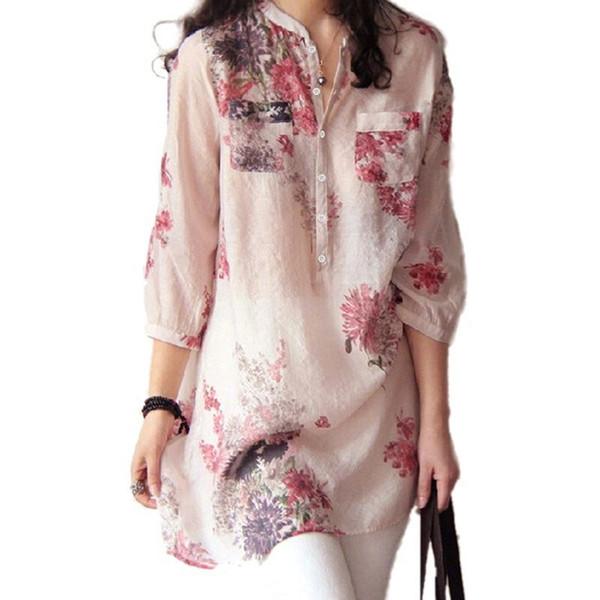 Mujeres de la vendimia de la impresión floral blusa de algodón camisa de lino Casual Tops sueltos mujer camisa larga Blusas túnica estilo chino DP824050