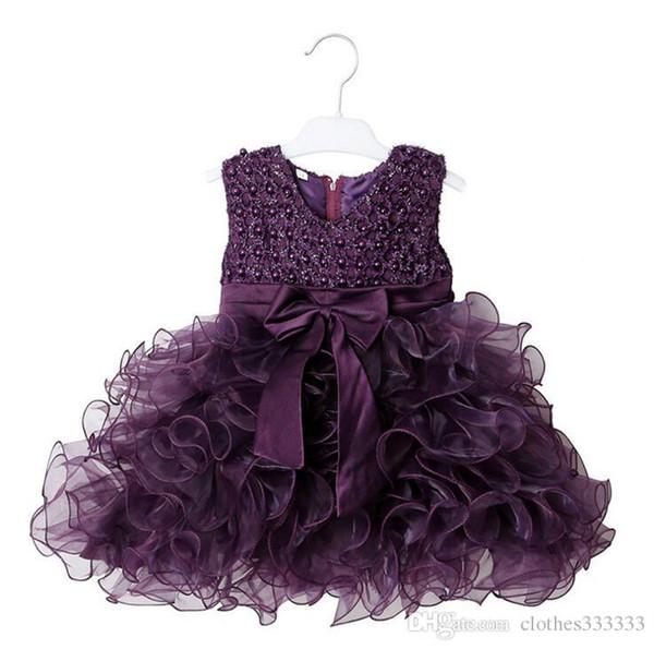 Flower Girl Dresses for Wedding Blush Pink Princess Tutu Sequined Appliqued Lace David knot flower princess skirt Cake skirt