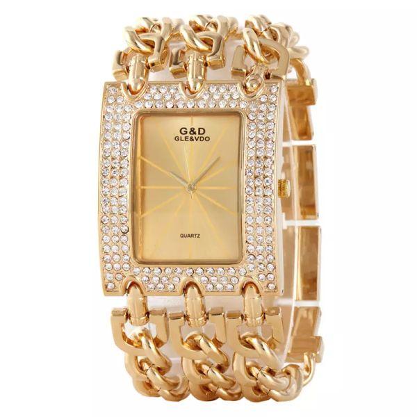 2017 Frauen Zeit Goldene Luxus Armbanduhr Strass Große Frauen Uhren Damen Gold Stahl Armbänder Weibliche Uhr Top Marke