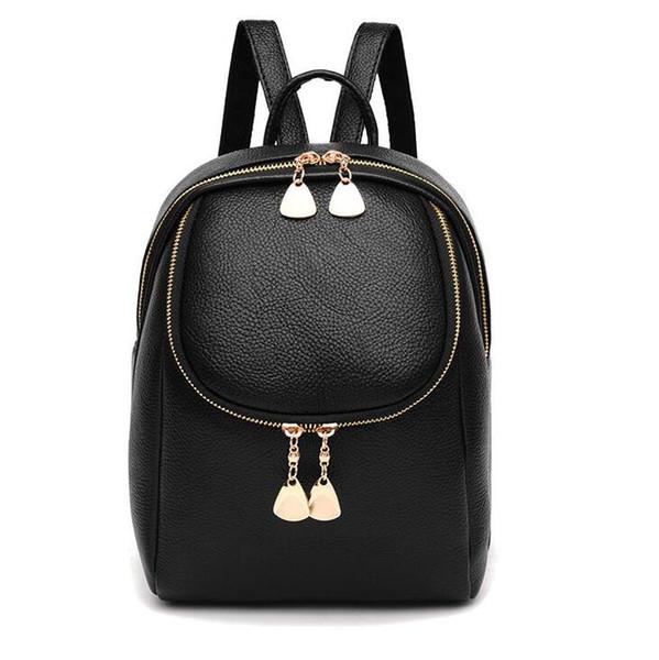 Sacchetto a catena sveglio dello studente della mini borsa del nero di modo dello zaino delle donne con la borsa poco costosa all'ingrosso della tasca Trasporto libero