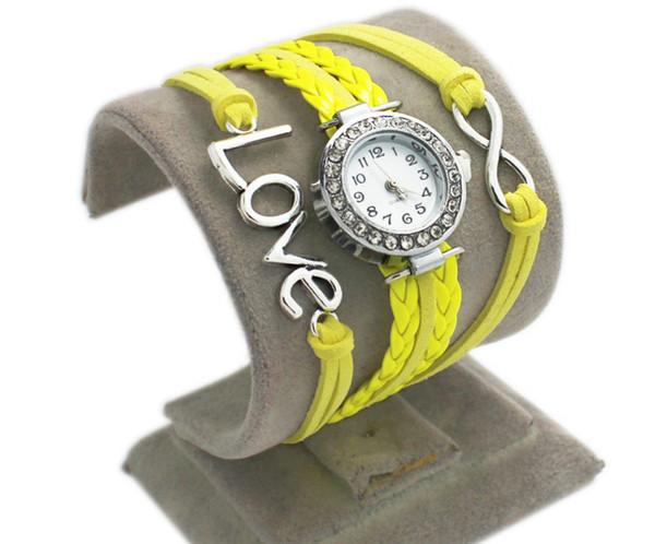 ( iSpot wholesale)2018 fashion woven bracelet watch love watch quartz watch alloy Love double heart-shaped love woven multi Bracelet