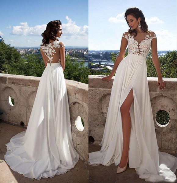 Summer Beach Millanova 2018 Sexy Sheer Lace Appliqued A Line Wedding Dresses Capped Sleeves High Split Chiffon Cheap Bridal Gowns