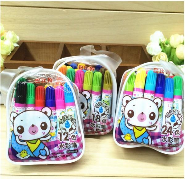 Children's watercolor pen 24 color suit, Barbie dog CY955-24 color watercolor pen, creative schoolbag, cute shape.