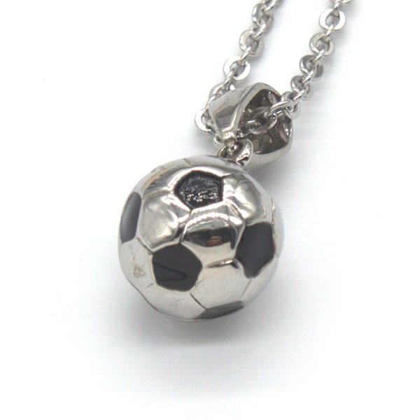 Wholesale 10 Pcs Stainless Steel Popular Football Pattern Pendant For Soccer Fan Necklace Link Chain Sport Fitness Jewelry