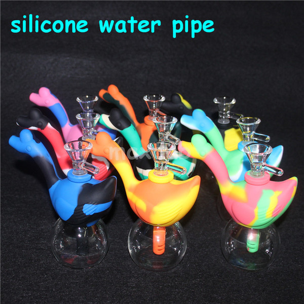 swan silicone bong Creative Design Silicone Tobacco Smoking Pipes Mini Water silicone Hookah Bong Multi Colors Portable Shisha Hand Pipes