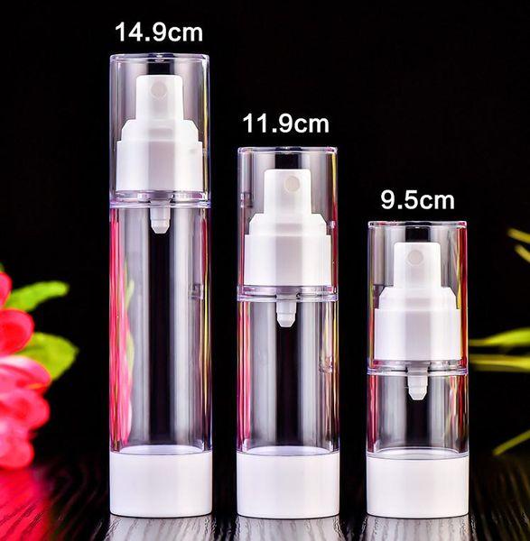 15ml 20ml 30ml Transparencia Vacío Airless Pump Container de viaje de plástico esencial loción crema cosmética botella con bomba SN1337