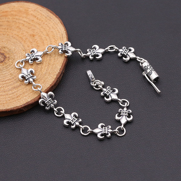 2018 new 925 sterling silver fine jewelry American brand antique silver hand-made designer anchor scroll charm links bracelets mens