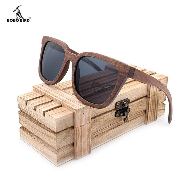 69b68f7097 BOBO BIRD Gafas de sol polarizadas de bambú nogal negro para hombre Gafas  UV 400 Gafas