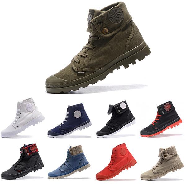 Ucuz Yeni PALLADIUM Pallabrouse Erkekler Yüksek Ordu Askeri Ayak Bileği erkek kadın çizmeler Tuval Sneakers Rahat Adam Kaymaz tasarımcı Ayakkabı 36-45