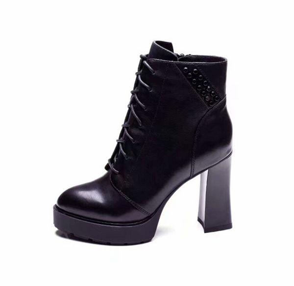 Fashion Brand Womens Ankle Knight Rivet Waterproof Platform Cowskin Winter High Heel 10CM Martin Boots Shoes Size 35-39
