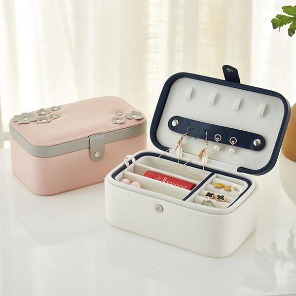 Nouveau européen deux couches portable boîte de stockage de bijoux en cuir pu boîte à bijoux créatif voyage petites boucles d'oreilles anneau bijoux packag18.2X11.2X8cm