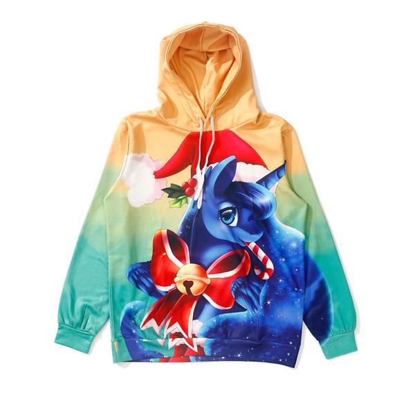 WY1464 Digital Print 3D Christmas Jackets Women's Long-sleeved Autumn/Winter New Harajuku Pony Loose-fitting Jackets