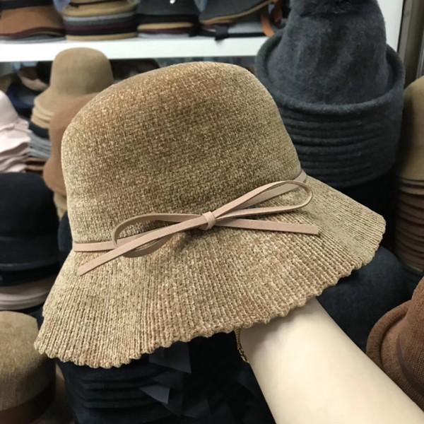 01810-pei0282 hiver chaud chenille à tricoter doux bowknot loisirs femme seau casquette chaude femmes chapeau