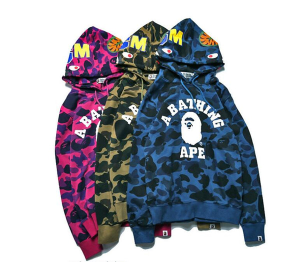 Bape 2017 ape heißer verkauf marke wolf gedruckt hoodies männer 3d sweatshirt qualität plus größe pullover neuheit 6xl streetwear männlich mit kapuze jacke