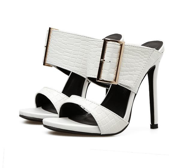Sexy women high heel white black stone grain with buckle shoes summer sandals slipper 2 colors size 35 to 40