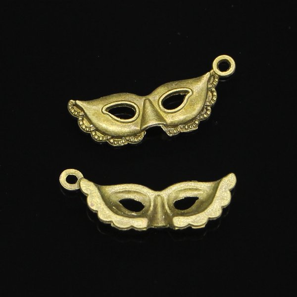 87pcs Zinc Alloy Charms Antique Bronze Plated party mask masquerade mardi gras Charms for Jewelry Making DIY Handmade Pendants 31*12mm