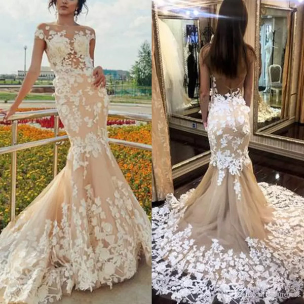 Elegant lace mermaid wedding dresses for bridal Scoop Neckline Champagne Wedding Gowns Open Back Sexy Lace Bridal Dress