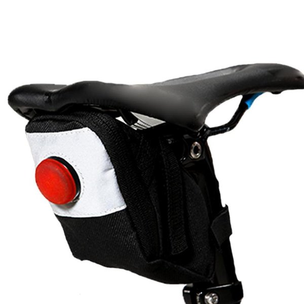 Bicycle Bag Bike Waterproof Storage Saddle Bag Cycling Tail Rear Pouch with Warning Light Cycling Saddle Seatpost Tail