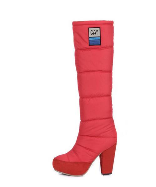 Botas de invierno de alta pluma para mujer más gruesas con altas botas de algodón de manga cálida impermeable de Taiwan sexy