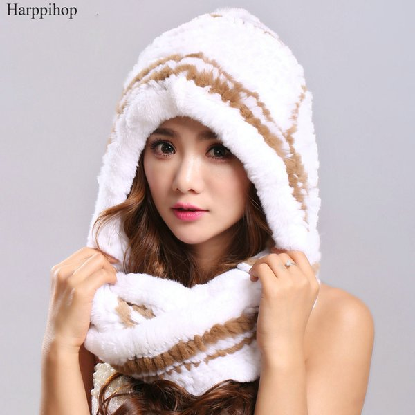 Winter Scarves Fur With Genuine Fur Hats For Women New Luxury Scarf Female Elegant Knit Real Rex Rabbit Scarves Hooded