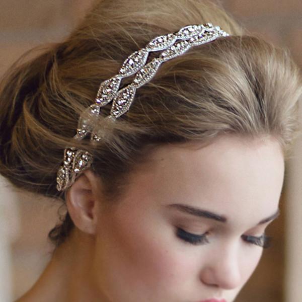 beaded rhinestone white ribbon headband bridal wedding vintage luxury party flapper