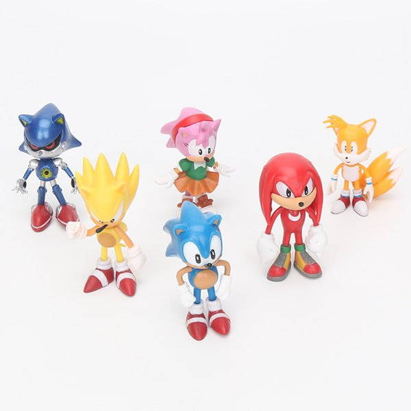 6Pcs/set Anime Cartoon Sonic The Hedgehog Figure Action sonic Characters keychain pendant Doll Toys Chiristmas gift