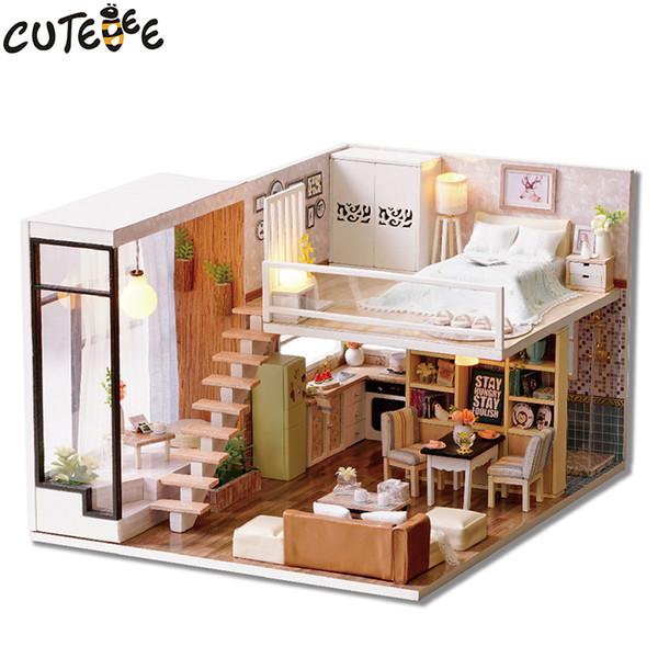 CUTEBEE Doll House Miniature DIY Dollhouse With Furnitures Wooden House Waiting Time Toys For Children Birthday Gift