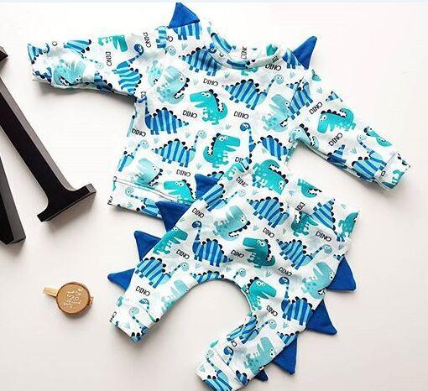 Cute Baby Boys Dinosaur Clothes Top Pants 2 pezzi Set Abiti Animal Manica lunga Kd Baby Boys Sport Abbigliamento casual Bambino Abbigliamento per bambini