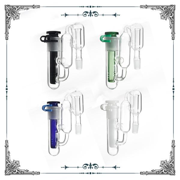 Recipiente per reciclatore per tubi d'acqua in vetro di bong con clip a downstem e bong in vetro per cattura di cenere 14.4mm 14mm