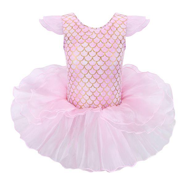 BAOHULU New Ballerina Girls Ballet Tutu Dance Party Dress Mermaid Pink Gymnastics Leotards Cute Baby Girls Fashion Ballet Dress