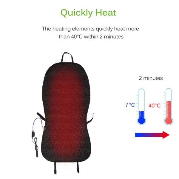 Onever Good Quality Car Heated Seat Cushion Heating Pad Cover Hot Warmer with Built-In Thermostat HI/LO Mode for Winter