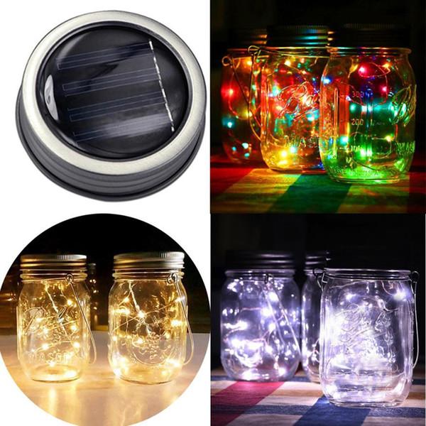 1 M 2 M LEVOU Luz De Fada 10 20 LED Solar Powered LED Mason Jars Ilumine Tampa Do Jardim Decoração de natal luzes de casamento ao ar livre decoração