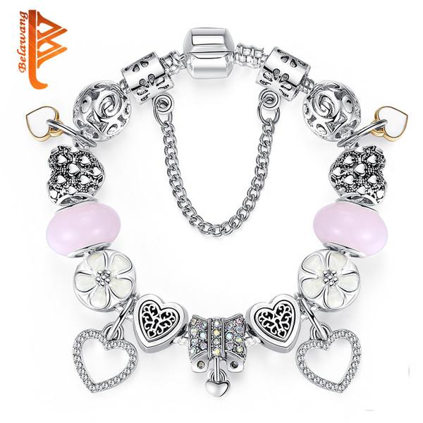 BELAWANG For Women New Fashion Heart Charm Bracelet With Safety Chain Pink Murano Glass Beads White Enamel Flower Bead Bracelet Jewelry