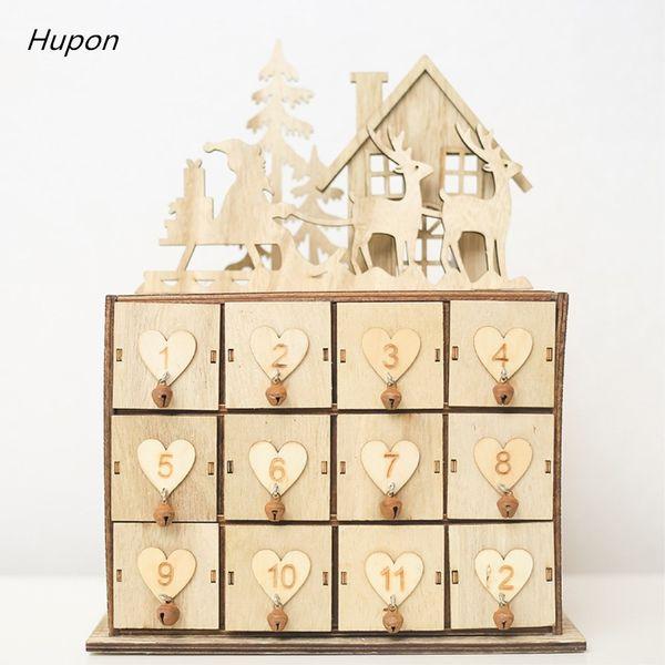 1PC Wood Heart Christmas Advent Calendar House Christmas Deer Decor DIY Wedding Ornaments Jewelry Box Natural Crafts Supplies