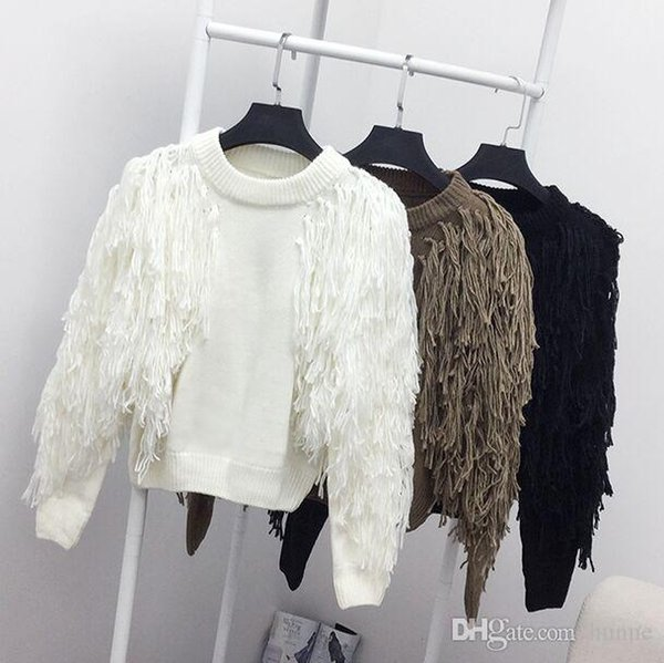 Wholesale- Casual Style Women Knitted Stylish Sweaters Tops Tassel Sleeve Lady Woman Knitting Sweater Pullovers Hot Selling