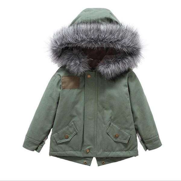 Nueva chaqueta de invierno para bebés, niñas y niños, en verde militar gruesa de piel con capucha abrigos abrigos niños niño niña acolchada invierno cálido outwear 2-7years