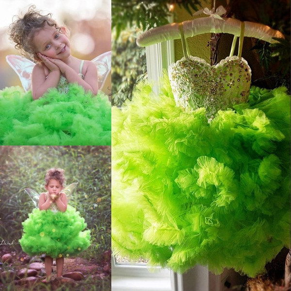 Fairy Tinker Bell Girls Pageant Dresses Lovely Cloud Tiered Tulle Knee Length Kids Costume Birthday Gowns Fashion Princess Flower Girl Dress