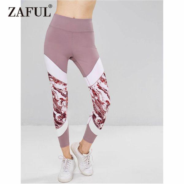 ZAFUL Yoga Pants Women High Rise Color Block Gym Leggings Elastic Running Fitness Slim Sport Pants Leggings for Women Trousers